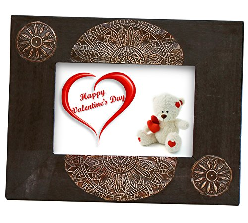 SouvNear 100% Wood Photo Frame / Picture Frame 5 x 7 - Photo Frames 5x7 Vintage Look Brown Handmade Decorative Wooden Picture Frame With Unique Tin for Horizontal or Vertical - Unique Frames Wooden