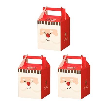 Da.Wa 3X Cajas de Regalo Cajas de Dulces Galletas Cajas de Regalo para Navidad Cumpleaños Vacaciones Bodas Rojo 8.5 * 8.5 * 10cm
