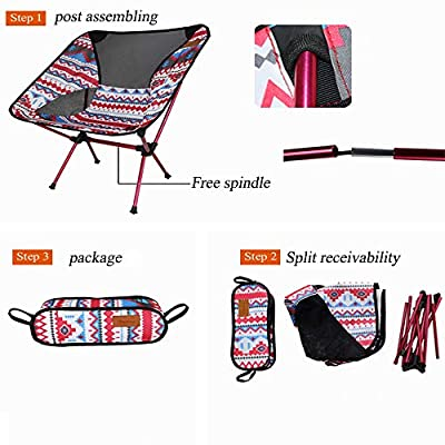 Lightweight Folding Camping Chair with Carry Bag, Portable Compact for Outdoor Camp, Hiking, BBQ, Picnic(red): Kitchen & Dining