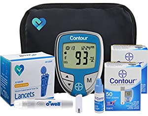 OWell Bayer Contour Diabetic Blood Glucose Testing Kit, Meter, Test Strips, Lancets, Adjustable Lancing Device, Control Solution, Owners Log Book & Manual