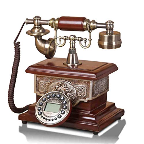 SMC Backlight Hands-Free Antique Time Calendar Display Phone Home European Retro Fixed Phone Fashion Landline (Color : Bronw, Size : B) from SMC Telephone
