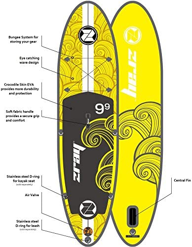 Z-Ray X1 9 9 All Around SUP Stand Up Paddle Board Package w Pump, Paddle and Travel Backpack, 6 Thick