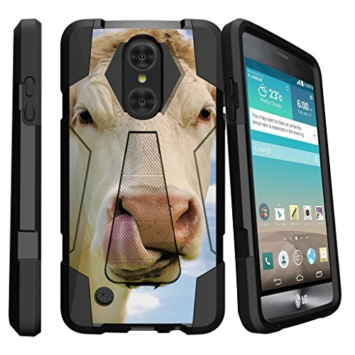 MINITURTLE Case Compatible w/LG K8 (2017) Cool Case| LG Aristo| LG Phoenix 3 | LG Fortune [Shock Fusion] Two Layer Hybrid Impact Silicone Stand Case Pen Cow Licking Nose