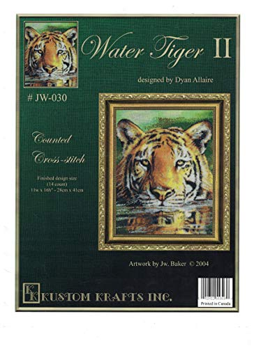 WATER TIGER II J.W. Baker Wildlife Art (Counted Cross Stitch) (Kustom Krafts Needlework #JW-030)