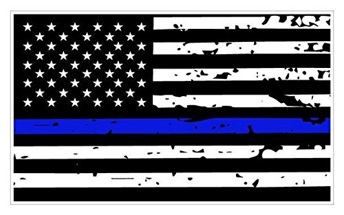 (JMM Industries Thin Blue Line Tattered Flag Vinyl Decal Sticker BLM Car Window Bumper 5-Inches by 3-Inches Premium Quality UV Resistant Laminate PDS024)