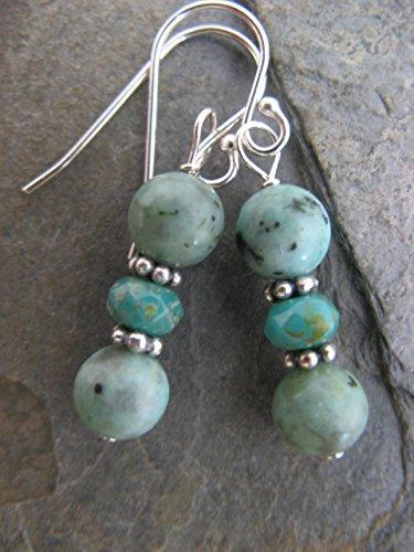 African Turquoise Czech Glass Sterling Silver Earrings Boho Jewelry -