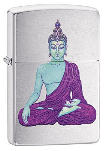 Zippo Lighter: Buddha in Purple - Brushed Chrome 79218 ()