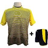 Uniforme Esportivo com 12 camisas modelo City Amarelo Preto + 12 calções  modelo Copa Preto c0d2dc79c4245