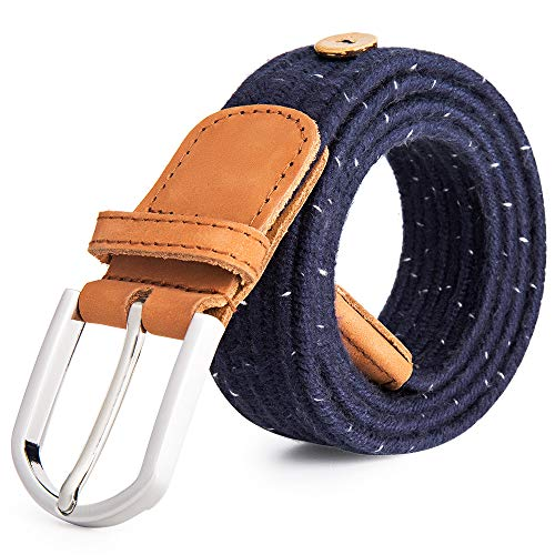 Classic Woven Belt - Upgraded Cow Leather Tip Braided Stretch Belt - Fabric Woven Belt - Casual Weave Elastic Belt for Men and Women