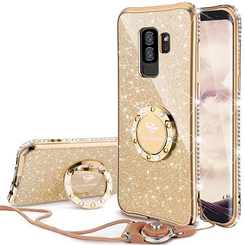 Galaxy S9 Plus Case, Glitter Bling Diamond Rhinestone Bumper Cute Galaxy S9 Plus Phone Case for Girls with Ring Kickstand Sparkly Protective Samsung Galaxy S9 Plus Case for Girl Women - Gold