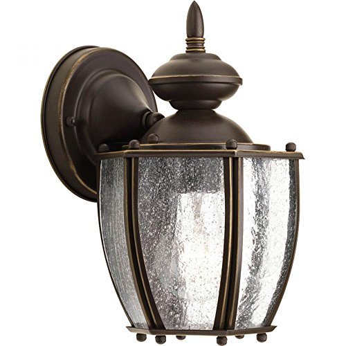 Progress Lighting Roman Coach Antique Bronze One-Light 9.87-Inch Outdoor Wall Sconce with Clear Seeded Glass ()