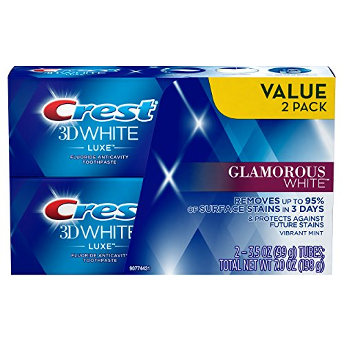 Crest Twin Pack 3D White Luxe Glamorous White Toothpaste, 3.5 Ounce each, 2 Pack