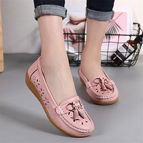 Atmungsaktive Pink Smart Quasten Damen Mokassins Schuhe Leder Slip Wedge Fit Loafer SHELAIDON Wide on 5wxO4qYq