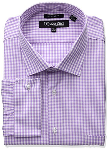 Stacy Adams Men's Big and Tall Gingham Check Dress Shirt, Purple, 18