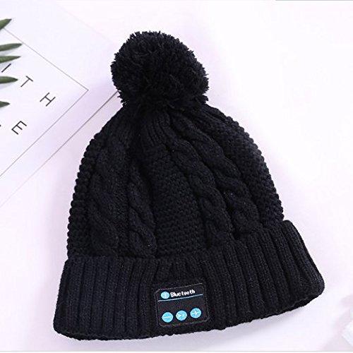 Fleece Braid Hat - Winter Bluetooth Hat Wireless Bluetooth Beanie Hat Microphone, Fleece-lined Unisex Music Beanie for Outdoor Sports, Braid Cable Knit (Black)