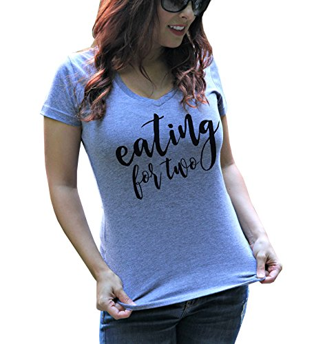 Eating for Two Womens Pregnancy Announcement Heather Gray Couples Soft Tri-Blend V Neck Shirt
