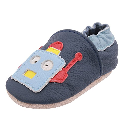 iEvolve Robot Baby Shoes Baby Toddler Soft Sole Prewalker First Walker Crib Shoes Baby Moccasins(Navy Blue, 12-18 ()
