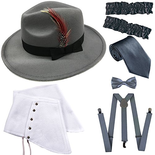 1920s Trilby Manhattan Gangster Fedora Hat, Gangster Spats,Garters Armbands,Suspenders Y-Back Elastic Trouser Braces,Pre Tied Bow Tie,Gangster Tie (OneSize, Grey) from ZeroShop