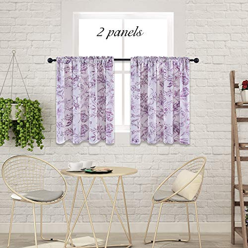 - HOLKING Bedroom Lavender Purple Floral Printed Curtains- Energy Efficient Rod Pocket Valance Drapes for Small Window (2 Pieces, W52 x L36-Inch)