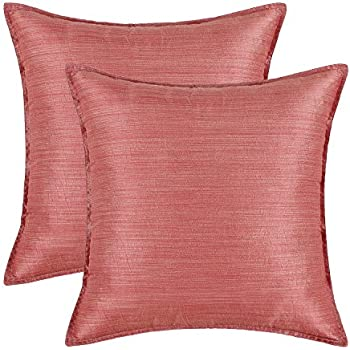 Pack of 2, CaliTime Silky Throw Pillow Covers Cases for Couch Sofa Bed, Modern Light Weight Dyed Striped, 20 X 20 Inches, Coral Pink