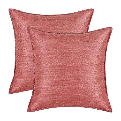 Pack of 2, CaliTime Cushion Covers Throw Pillow Cases Shells Modern Silky Light Weight Dyed Stripes, 18 X 18 Inches, Coral Pink