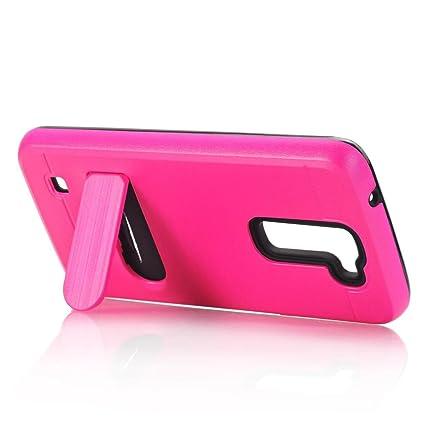 super popular 6fe31 d8bae For LG K7 Case , TOOPOOT Hybrid Rugged Rubber Case Cover For LG K7 (Hot  Pink)