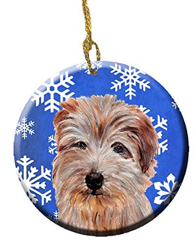 (Caroline's Treasures SC9784CO1 Norfolk Terrier Winter Snowflakes Ceramic Ornament, 3 in, Multicolor)