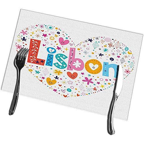 Juego de 6 tapetes de mesa de cocina, tapetes de mesa resistentes a las manchas tipo Lisboa, en forma de corazon 12X1