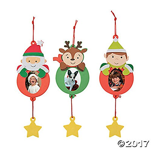 Set of 12 Christmas Holiday Picture Ornament Foam Craft Kits Santa Reindeer and Elf