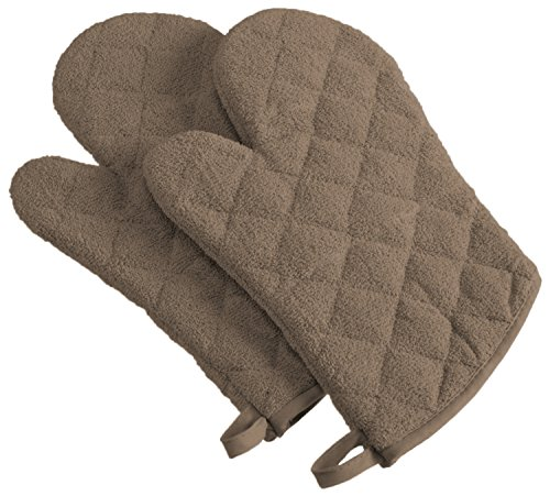 DII 100% Cotton, Machine Washable, Everyday Kitchen Basic Terry Ovenmitt Set of 2, Brown ()