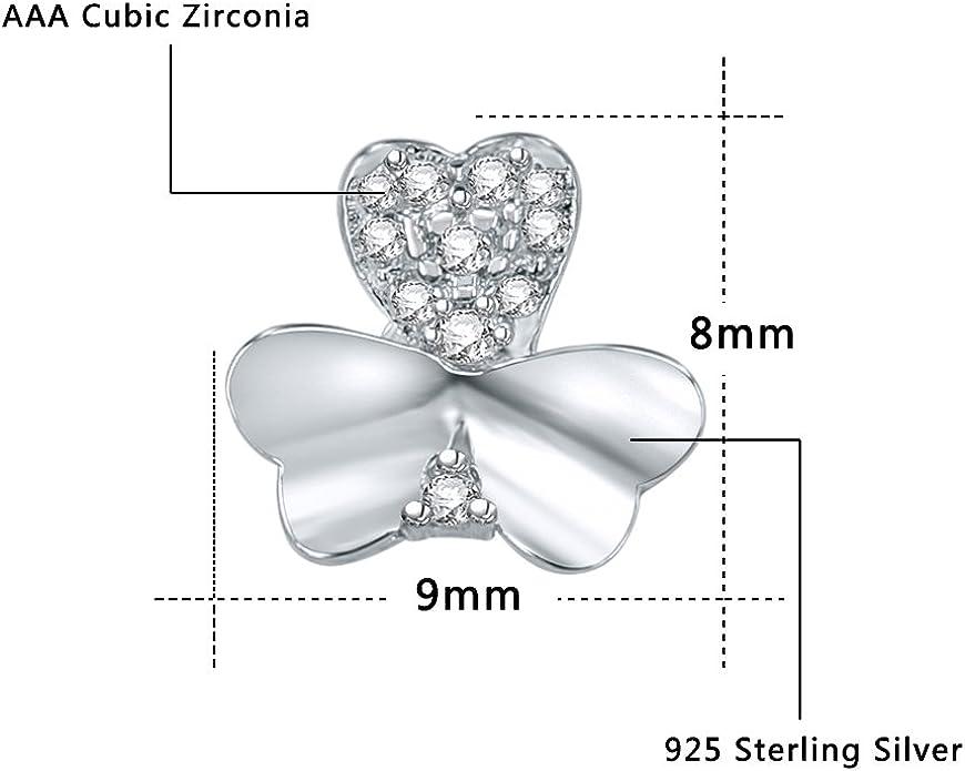 AoedeJ 925 Sterling Silver Three Leaf Clover Stud Earrings Cubic Zirconia Heart Earring Studs for Women