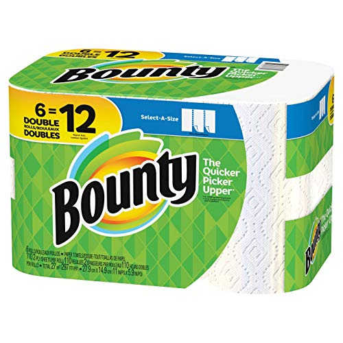 Household Paper Towel - Bounty Select-a-Size Paper Towels, White, 6 Double Rolls = 12 Regular Rolls, Prime Pantry