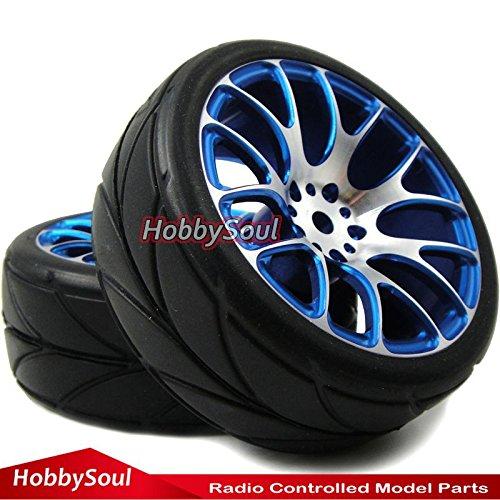 4pcs New RC 1/10 On Road Tires Soft & Alloy Aluminum Rims Hex 12mm