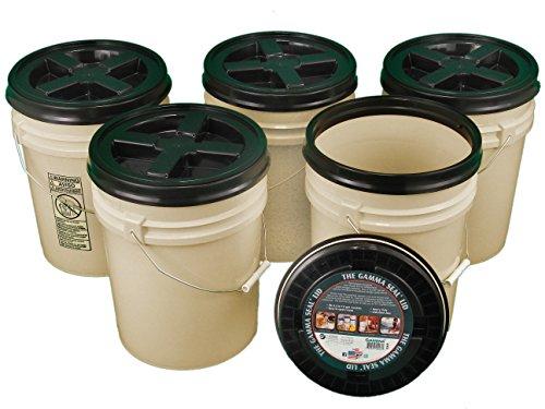 Bucket Kit, Five 90 mil Tan 5 Gallon Buckets with Black Gamma Seal -