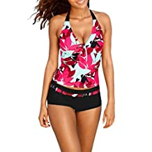 Tootu Plus Size Women Push-up Swim Dress Tankini Sets Two Piece Swimsuit Bikini