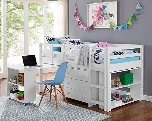 Naomi Home Low Study Loft Bed White/Twin