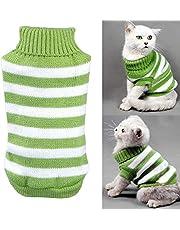 """Yongqin kotek ubrania sweter dla kota, zimowy kostium zwierzęcia domowego kota sweter wysoka rozciągliwość wygodny dla małych kotów, psów chihuahua mops (M: klatka piersiowa 30-33,4"""", zielony)"""