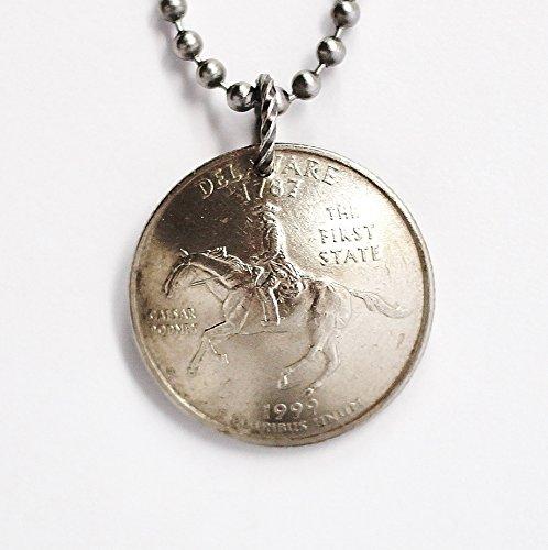 Delaware Necklace Domed Coin U.S State Commemorative Quarter Pendant 1999