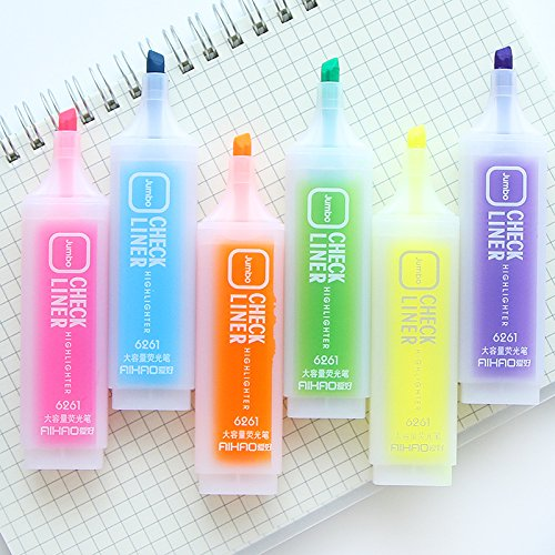 Pen Fluorescent Marker Tip 36 pcs/Lot Oblique Liner Color Highlighter Medium Chisel tip Fluorescent Pen Office Accessories School Supplies 6646