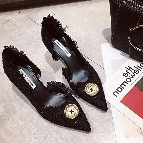 Yukun Schuhe mit hohen Absätzen Hochhackige Damen Damen Damen Stiletto Damenschuhe Frühen Herbst Mode Spitzen Flachem Mund Einzelne Schuhe Hochhackige Schuhe 3263fc