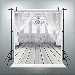 5x7ft Photography Backdrops White Floor Chandelier Photo Booth Props Wood Floor Studio Props Backdrop Wedding Backdrop Flower Photo Booth Backdrop LK-2086