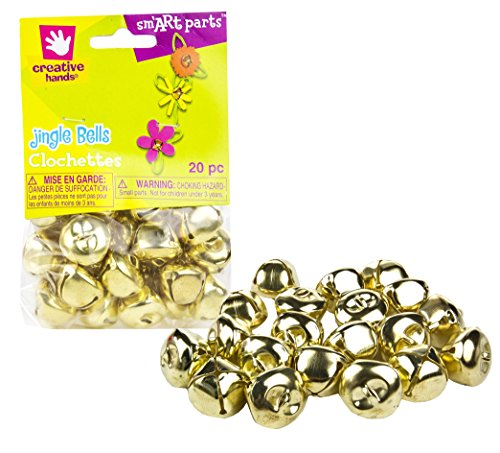 Creative-Hands-by-Fibre-Craft--20-Piece-25mm-Gold-Jingle-Bells-Pack