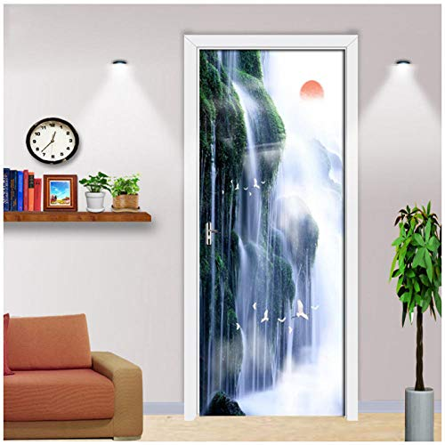 Wadyx 3D Door Sticker Wall Mural Art Natural Landscape Waterfall Wallpaper Poster Stickers Self Adhesive Removable Home Door 3D Decals 77X200Cm