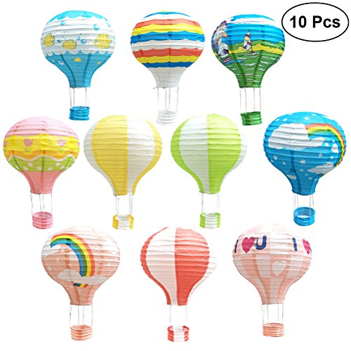 TOYMYTOY Paper Lantern,12 Inch Hanging Hot Air Balloon for Party Decorations,10Pcs