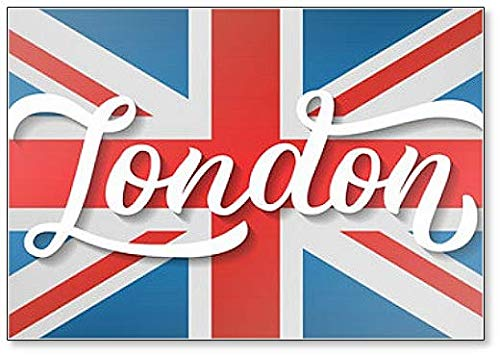 (London Hand Lettering with Flag Background Fridge Magnet)