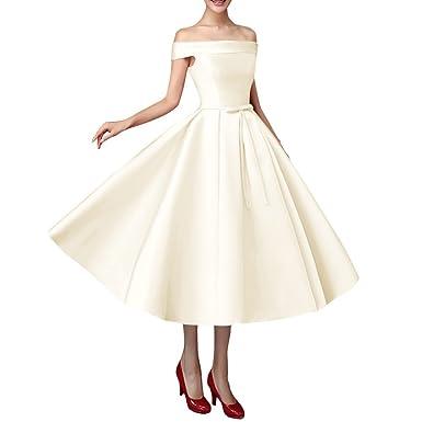 Off Shoulder Tea Length Dress
