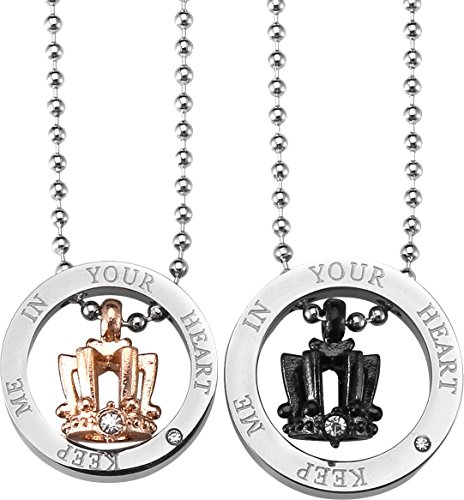 AgentX AAP038 Lovers\Couple Pendant Necklaces Crown Shape Stainless Steel Silver with Two Chains
