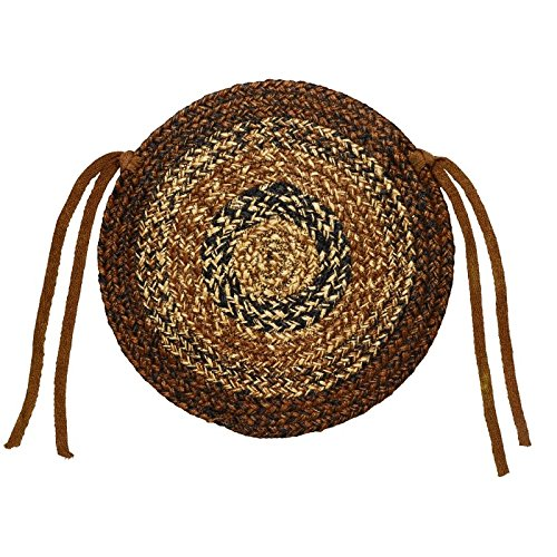 "IHF Home Decor Round Chair Cover Pads 15"" Braided Jute Rug New Cappuccino Design - Set of 4"