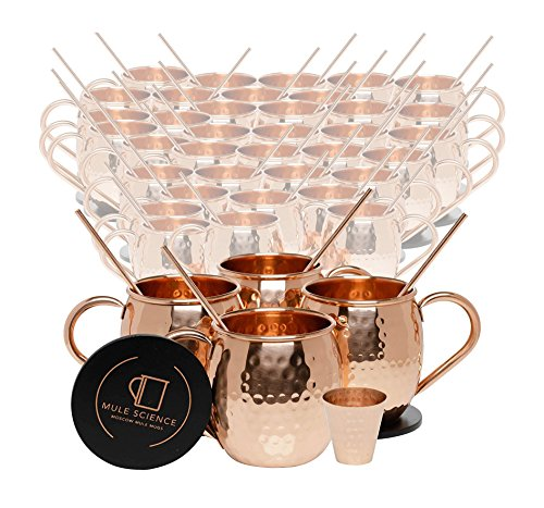 Set of 40 Pure Copper Moscow Mule Mugs by Mule Science with BONUS: Highest Quality Cocktail Copper 40 Straws, 2 Shot glasses and 40 coasters! by Advanced Mixology