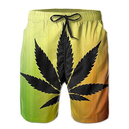 Cannabis Leaf Drawstring Mens Boardshorts Swim Trunks Tropical Basketball Board Shorts Bathing Swim Trunks